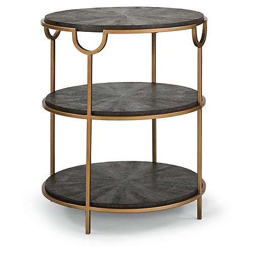 Vogue Tiered Side Table, Vintage Brown