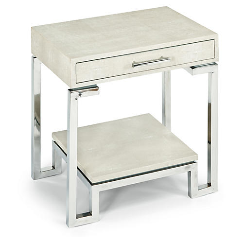 Stingray Nightstand, Ivory/Gray