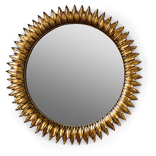 "Round 30"" Sunflower Wall Mirror, Gold"