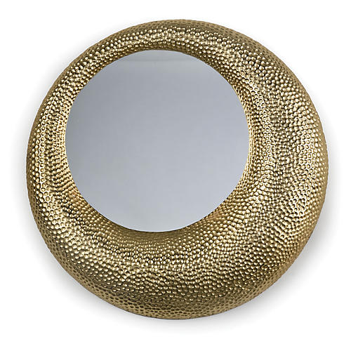 "Hammered 22"" Wall Mirror, Matte Gold"