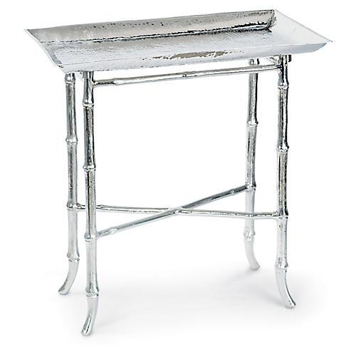 Bamboo-Style Tray Table, Nickel