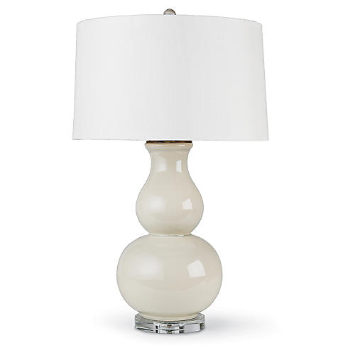 Large Ceramic Gourd Lamp, Eggshell