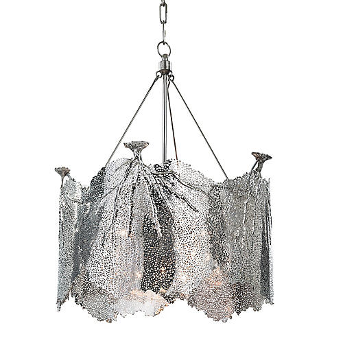 Extra Large Sea Fan Chandelier, Nickel