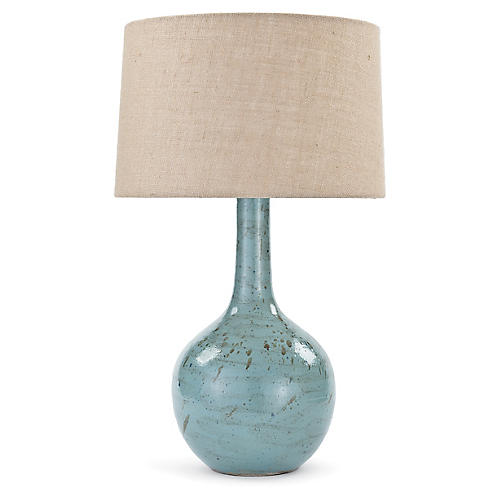 Fluted Robin Egg Table Lamp, Blue