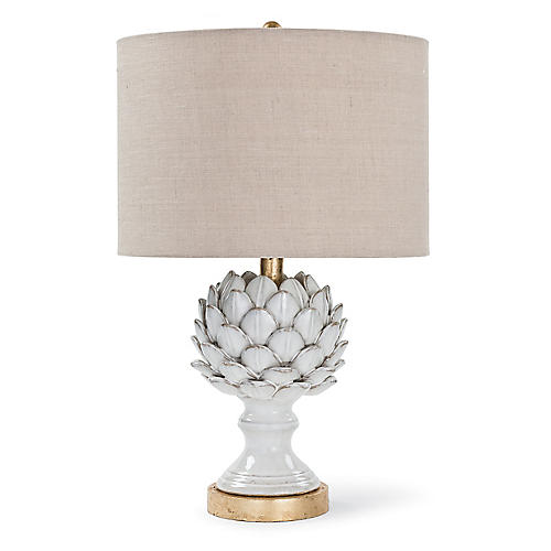 Ceramic Artichoke Table Lamp, White