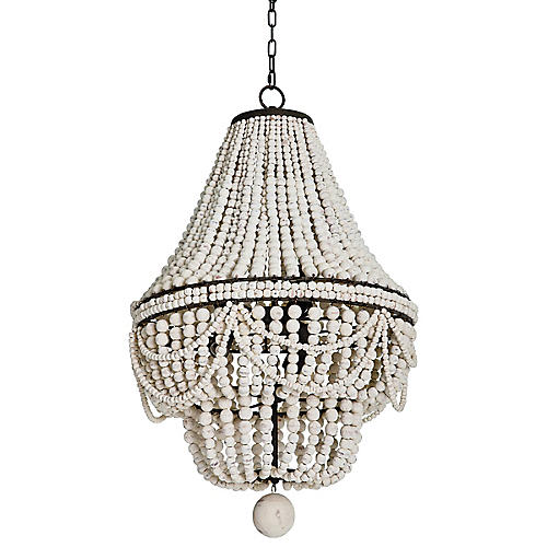 Malibu Chandelier, White/Brown