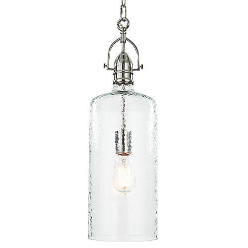 Bar Glass Pendant, Polished Nickel
