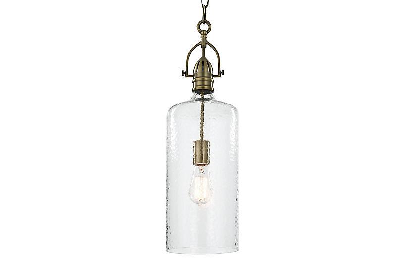Bar Glass Pendant, Antiqued Brass