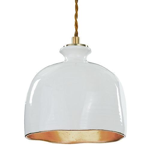 Bianca Gloss Dome Pendant, White/Gold
