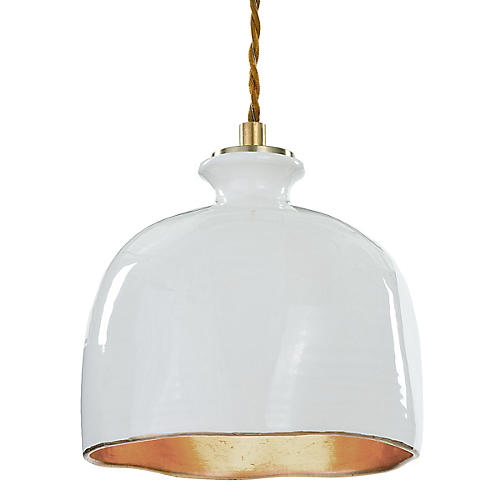 Bianca Gloss Dome Pendant, White/Gold