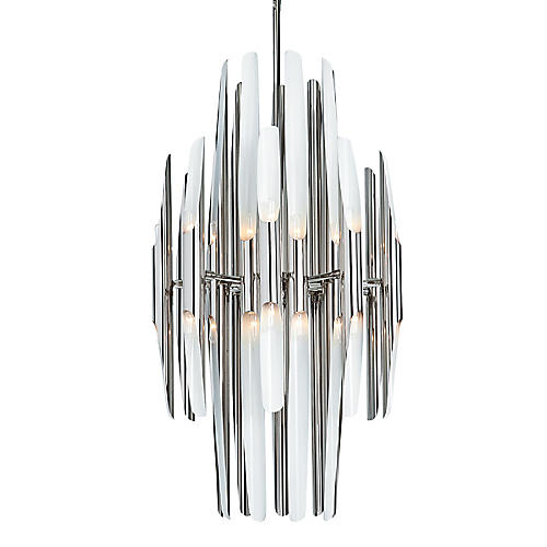Redford Chandelier, Polished Nickel