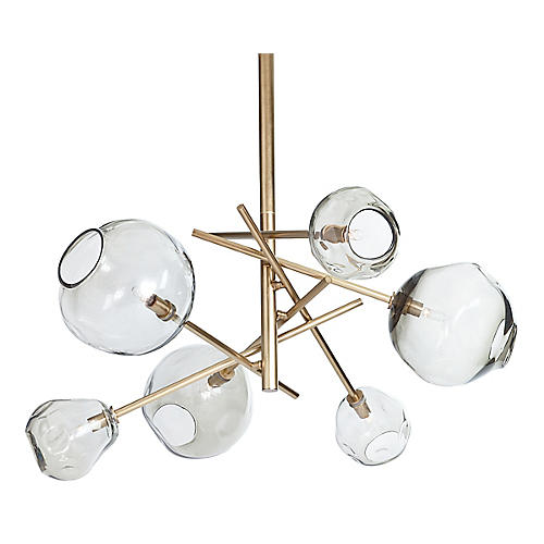 Molten Transparent Chandelier, Brass