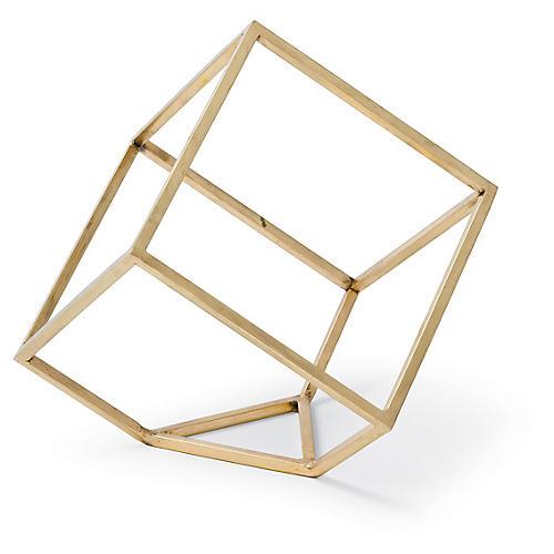 """6"""" Open Standing Cube , Brass"""
