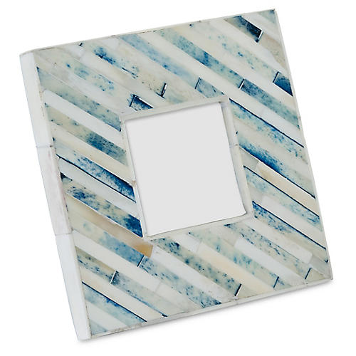 3x3 Bone Inlay Picture Frame, Aqua