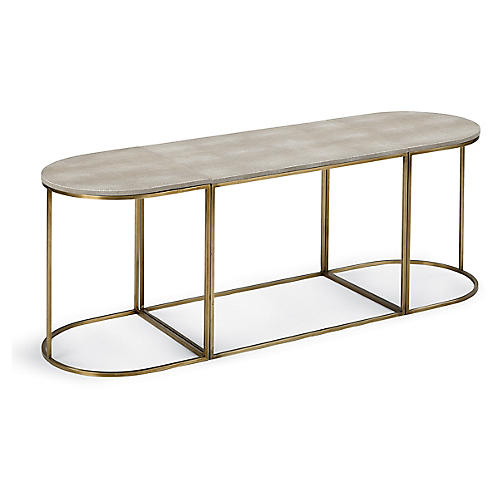 Faux-Shagreen Coffee Table, Brass/Ivory