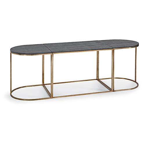 Faux-Shagreen Coffee Table, Brass/Slate