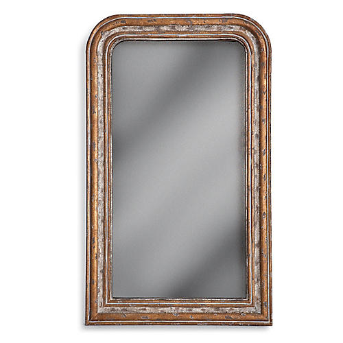 "Florence 28""x47"" Vanity Mirror, Antiqued Gold"