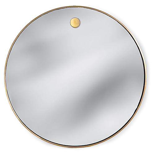 "Round 36"" Wall Mirror, Brass"