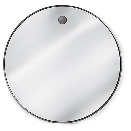 "Round 36"" Wall Mirror, Silver"