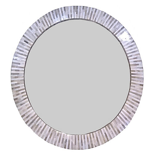 "Multi-Tone 32"" Bone Accent Mirror, White"