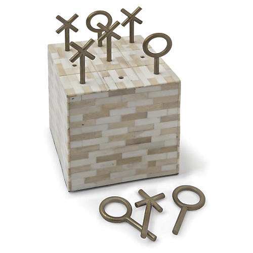 "7"" Bone Block Tic Tac Toe, Multi"