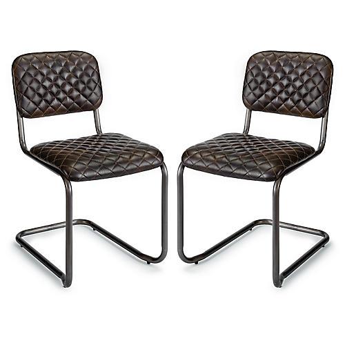 S/2 Jaxon Side Chair, Ebony Leather