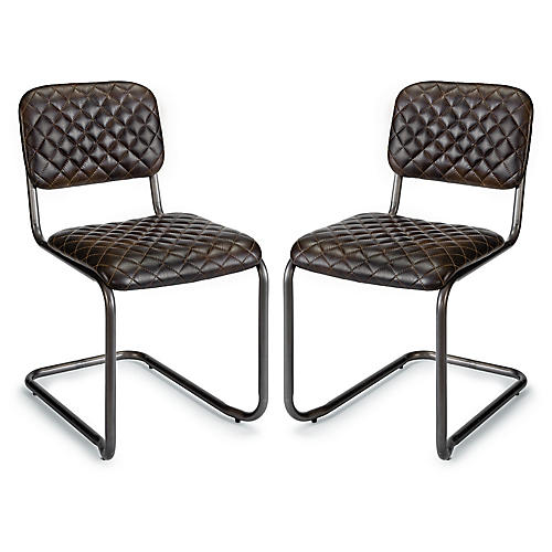 S/2 Jaxon Side Chair, Ebony Leather