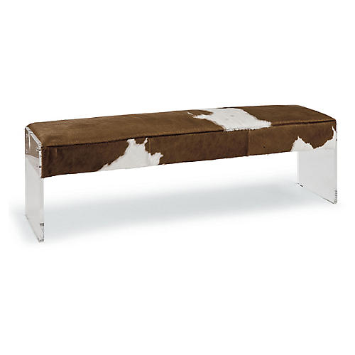Dominic Cowhide Bench, Brown