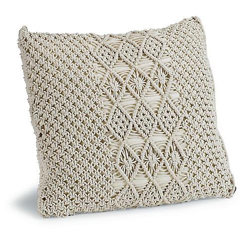 Carman 22x22 Macrame Pillow, Cream