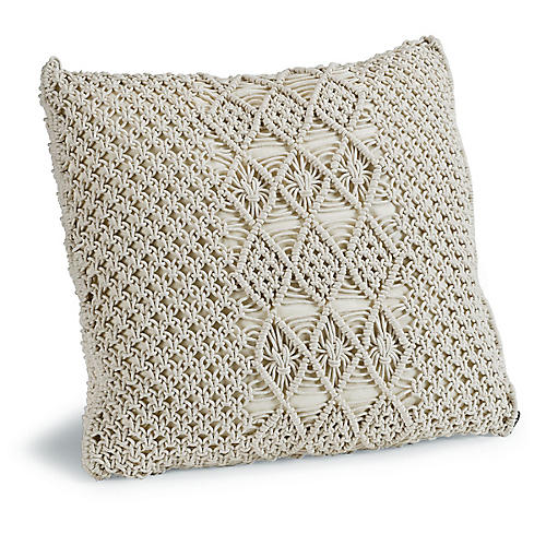 Carman 22x22 Macrame Pillow, Cream