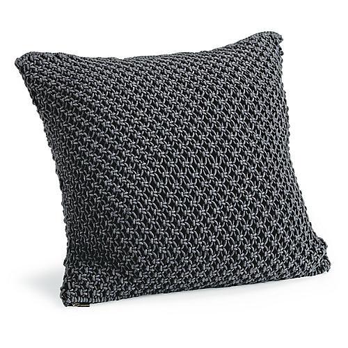 Marcel 22x22 Macrame Pillow, Charcoal