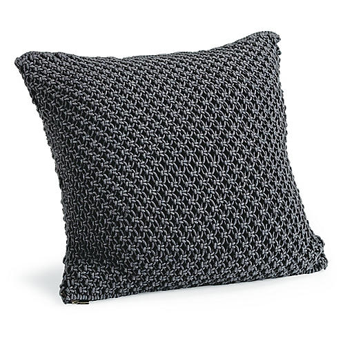 Marcel 22x22 Macrame Pillow, Charcoal