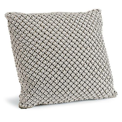 Marcel 22x22 Macrame Pillow, Gray