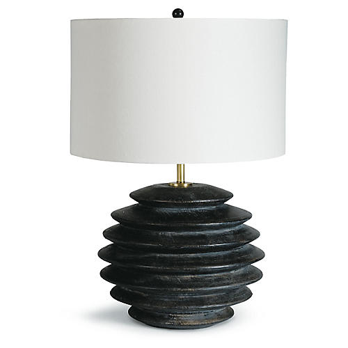 Accordion Round Table Lamp, Ebony