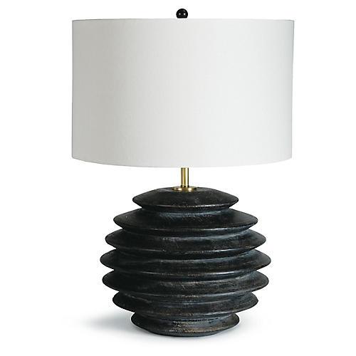 Accordion Round Table Lamp, Ebony