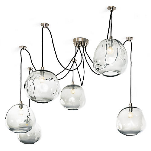 Molten Glass Chandelier, Silver