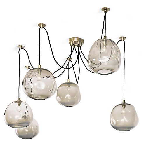 Molten Glass Chandelier, Gold