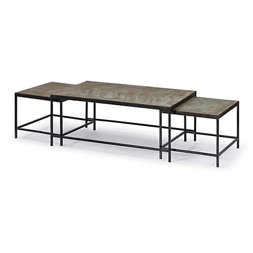 Asst. of 3 Herringbone Coffee Tables, Black