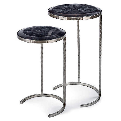 Asst. of 2 Horn Nesting Tables, Polished Nickel