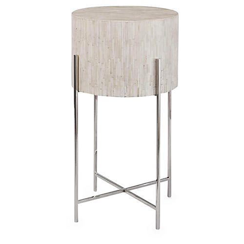 Drum Side Table, Polished Nickel