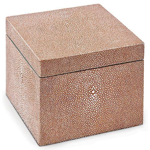 """6"""" Faux-Shagreen Square Box, Coral"""