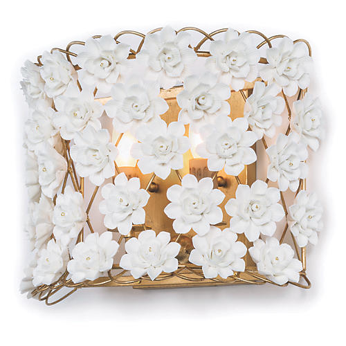 Alice Sconce, Gold Leaf/White