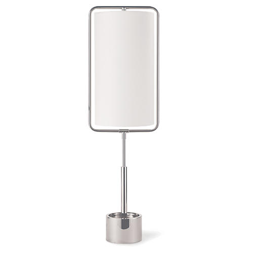 Geo Rectangle Table Lamp, Polished Nickel