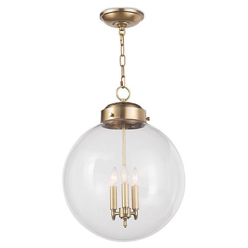 Globe Pendant, Natural Brass