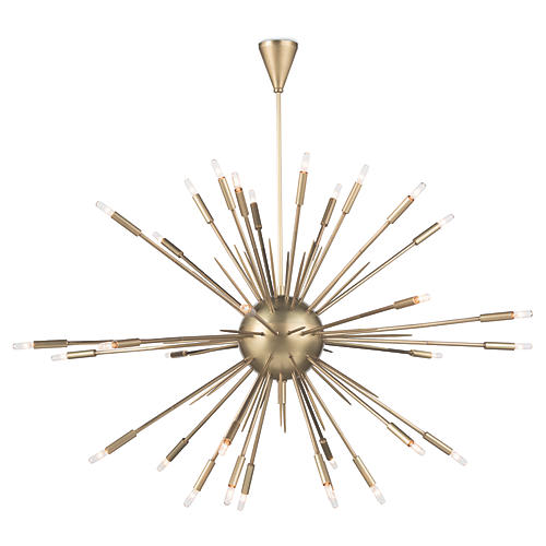 Nebula Large Chandelier, Natural Brass