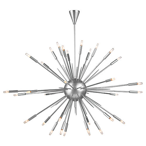 Nebula Large Chandelier, Polished Nickel