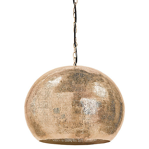 Pierced Sphere Pendant, Natural Brass