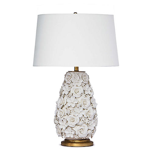 Alice Porcelain Flower Table Lamp, White