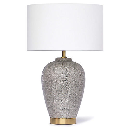 Presley Faux-Shagreen Table Lamp, Charcoal