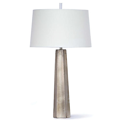 Celine Table Lamp, Ambered Silver Leaf